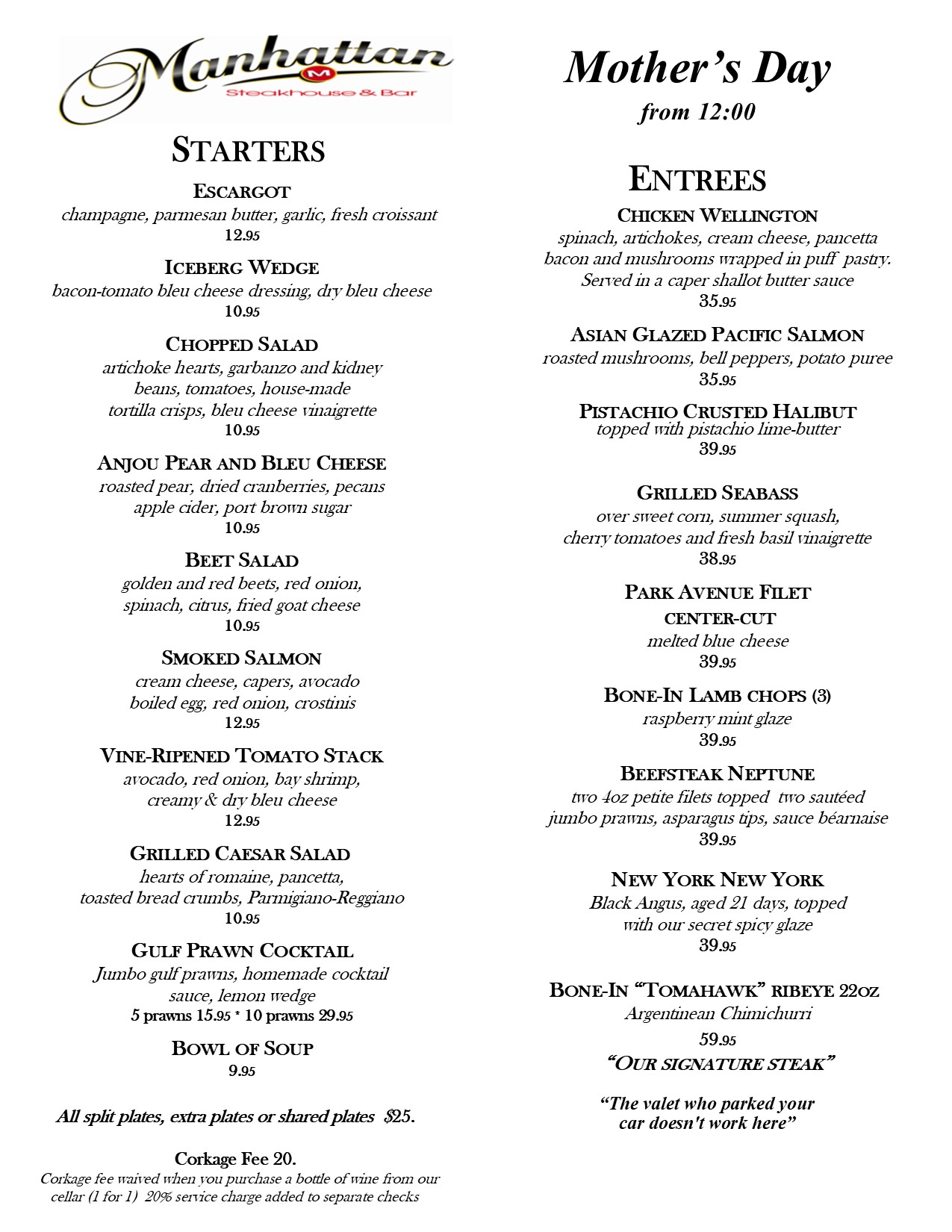 2018 Mothers day menu 4.18.18